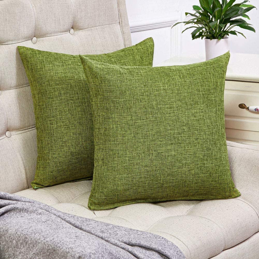 decorxset of 2 green pillow covers cotton linen decorative square throw pillow covers 20x20 inch for sofa couch decoration