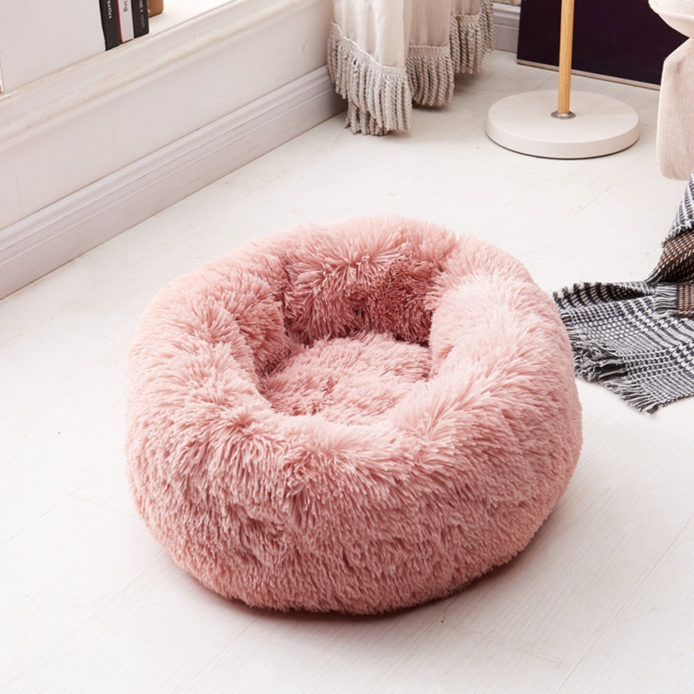 luxury fluffy pet bed for cats small dogs round cuddler plush cozy self warming calming shag vegan fur donut cuddler for high quality sleep