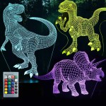 3d Dinosaur Night Light 3d Illusion Lamp Three Pattern And 7 Color Change Decor Lamp With Remote Control For Living Bed Room Bar Best Gift Toys For Boys Girls Three Dinosaurs