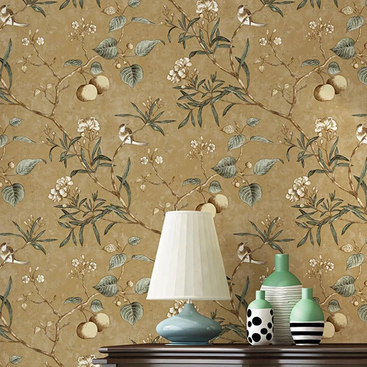 Hallolure 20 86 X 393 Inches Flower Home Waterproof Flower Wallpaper Vintage Flower Trees Birds Wallpaper For Livingroom Bedroom Kitchen 57 Square Ft Walmart Com Walmart Com
