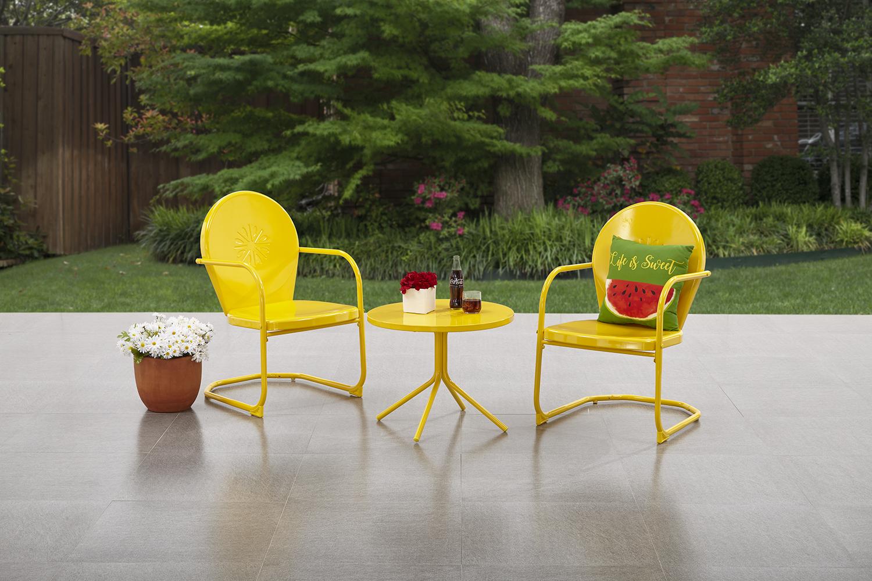 mainstays retro c spring 3 piece metal outdoor bistro yellow