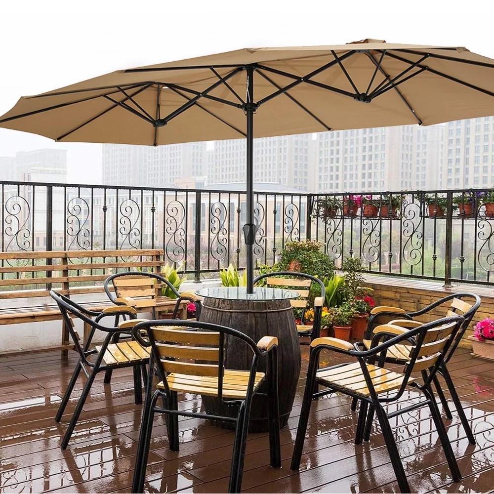 15x9ft double sided rectangular patio umbrella aluminum twin umbrella with extra large canopy outdoor sunshade umbrellas for patio conversation