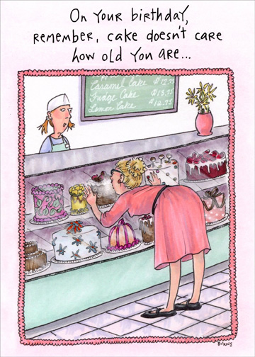 Oatmeal Studios Woman At Bakery Counter Funny Birthday Card For Her Women Walmart Com Walmart Com