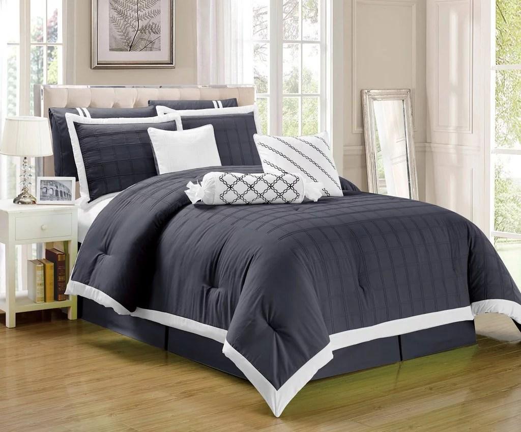Legacy Decor 9 Pc Pleated Microfiber Comforter Set Dark