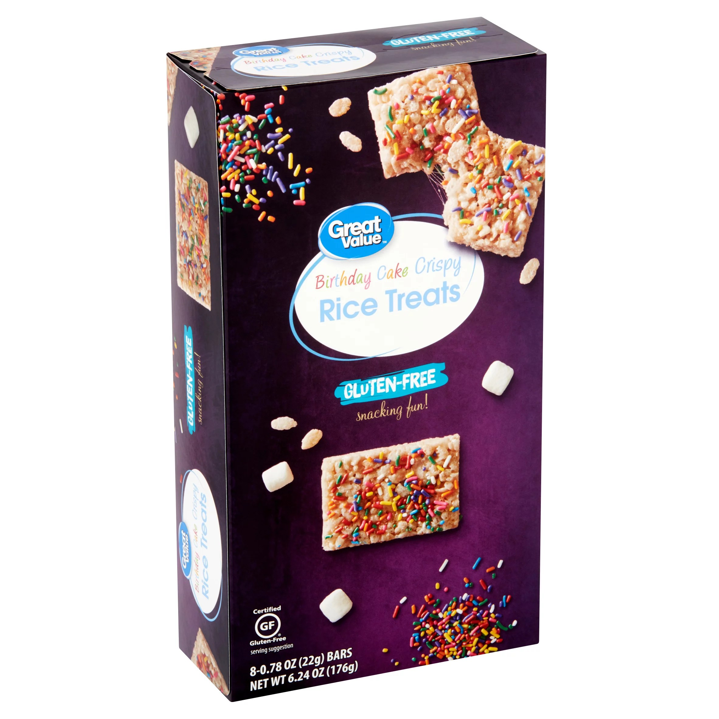 Great Value Birthday Cake Crispy Rice Treats 0 78 Oz 8 Count Walmart Com Walmart Com