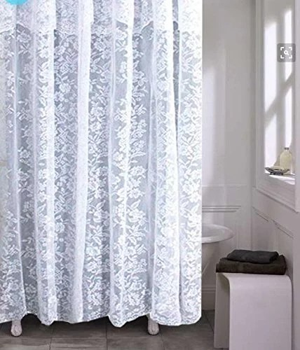 https www walmart com ip romance lace white fabric shower curtain with an attached valance 70 x 72 long 962095864