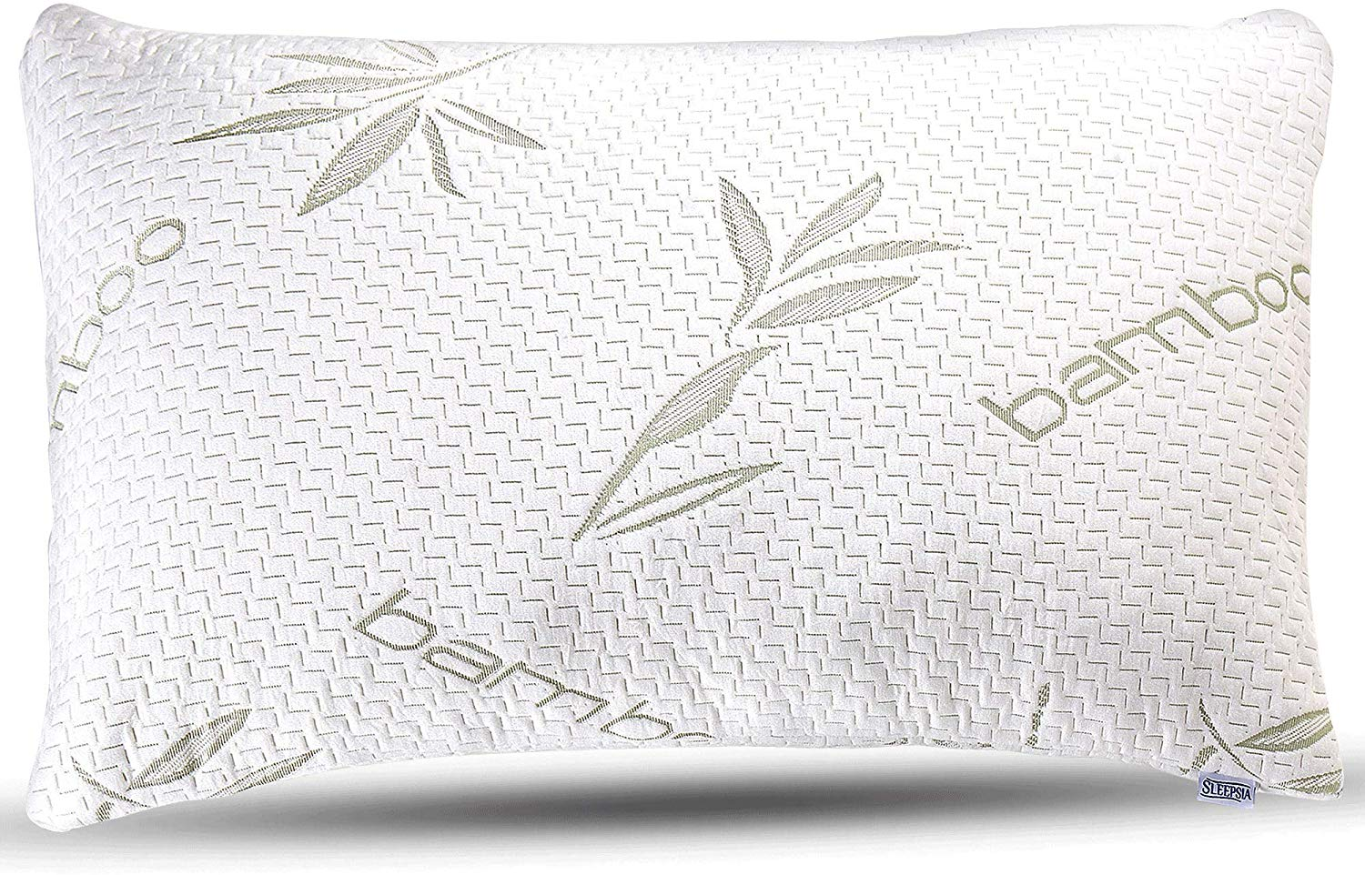 sleepsia bamboo premium memory foam pillows for sleeping with washable pillow case standard