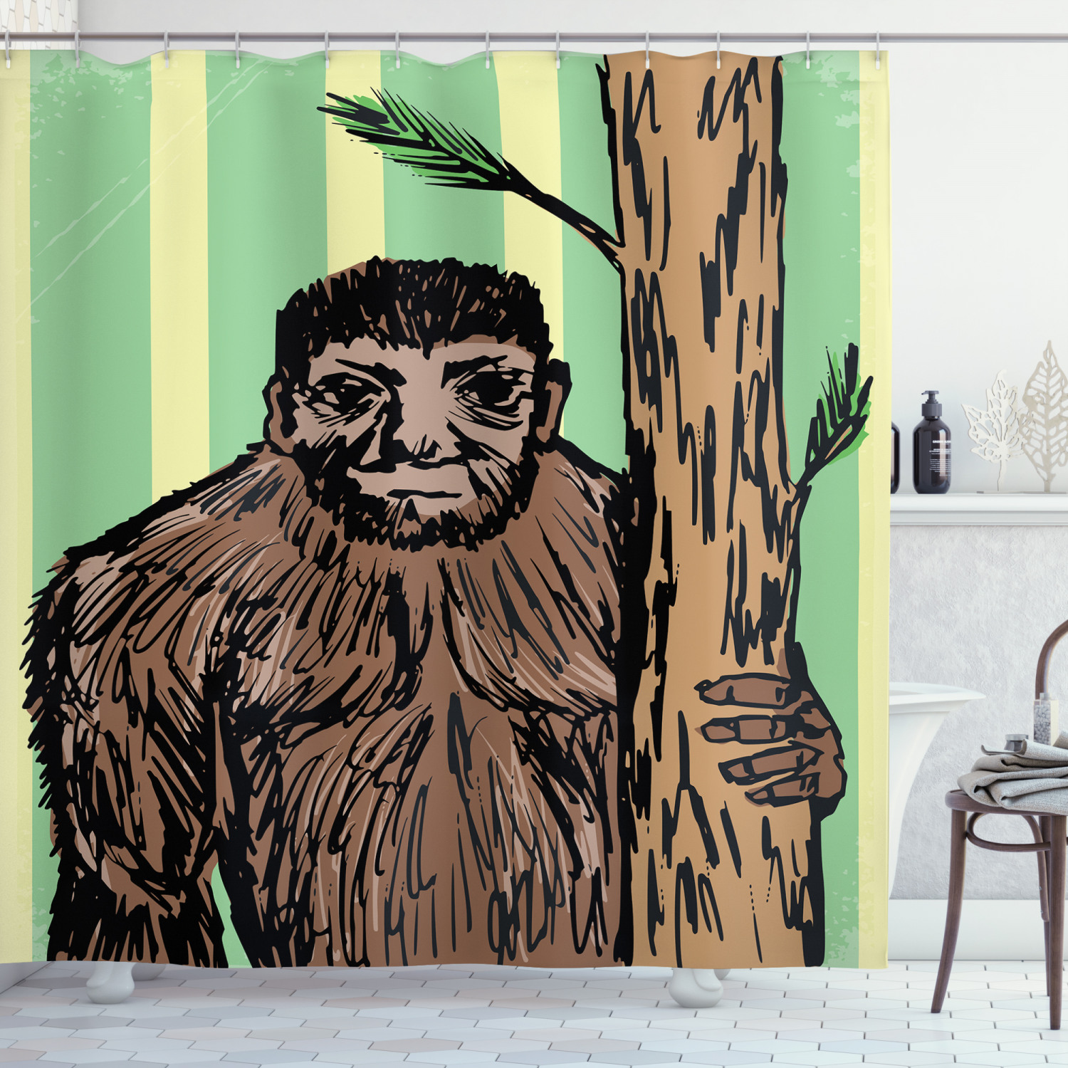 bigfoot shower curtain artistic sketch of mysterious yeti holding a tree trunk on striped background print fabric bathroom set with hooks 69w x 70l