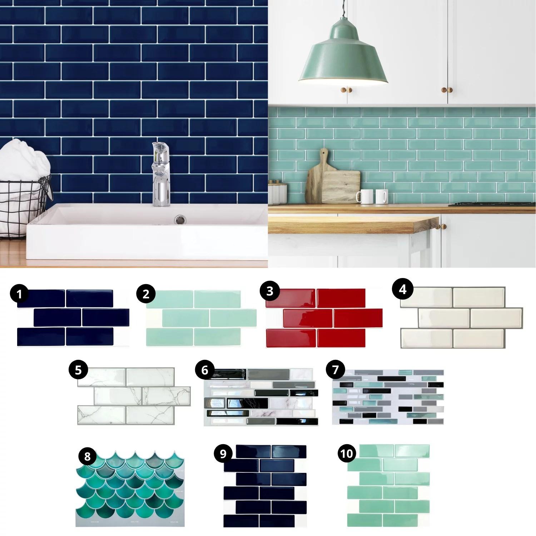 walplus 12 x 6 12 sheets peel and stick tile backsplash for kitchen bathroom decor kitchen decor cherry red metro
