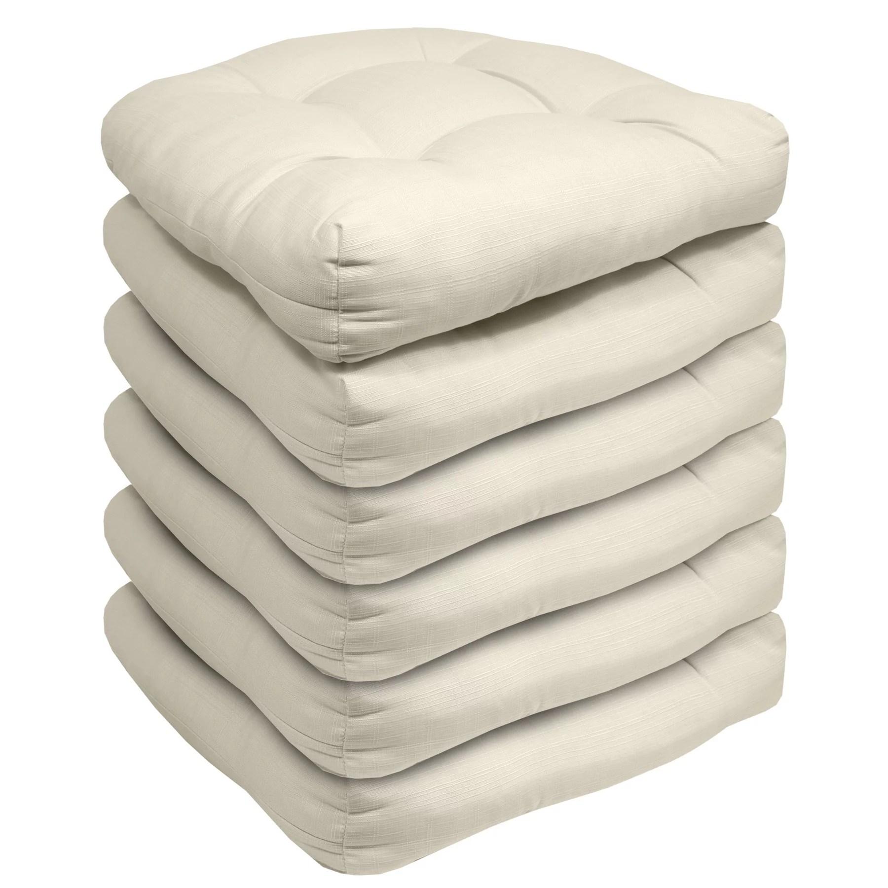 indoor outdoor reversible patio seat cushion pad 6 pack cream 19 x 19