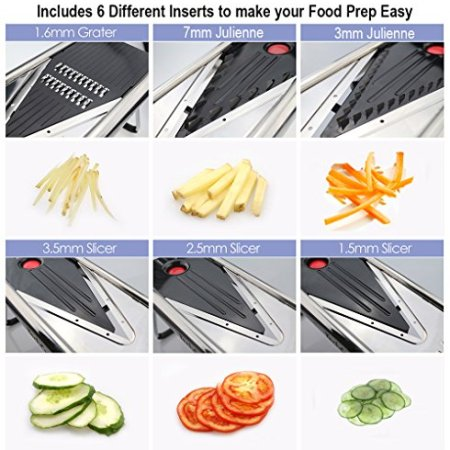 V Blade Stainless Metal Mandoline Slicer – Fruit and Meals Slicer, Vegetable Cutter, Cheese Grater – Vegetable Julienne Slicer with Surgical Grade Stainless Metal Blades – Consists of 6 Totally different Inserts ad0481d5 5cc6 444d 898d 2a49c9c1cb02 1