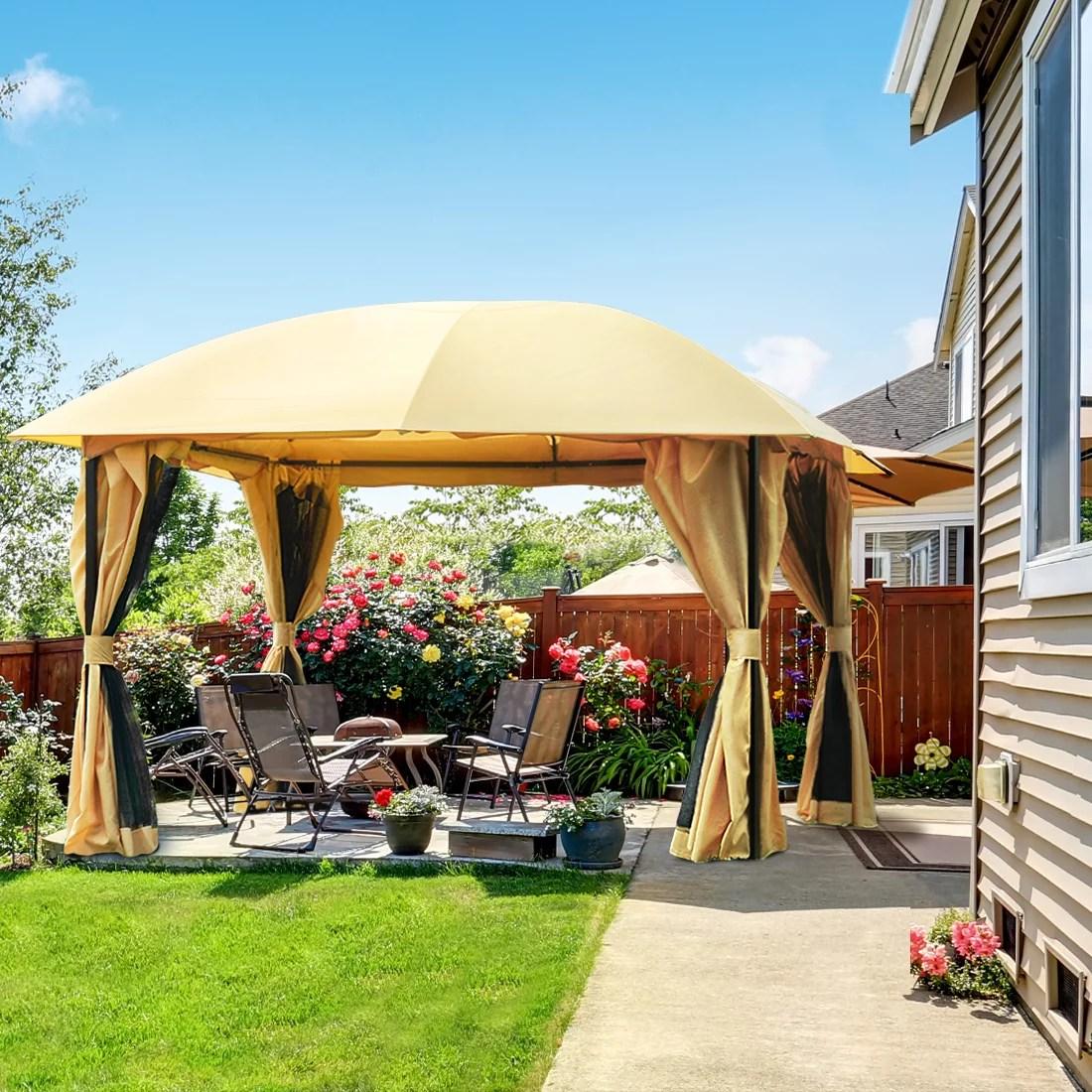 quictent 12x12 metal gazebo with mosquito netting sides screened gazebo canopy pergola for deck patio and backyard waterproof tan tan walmart com