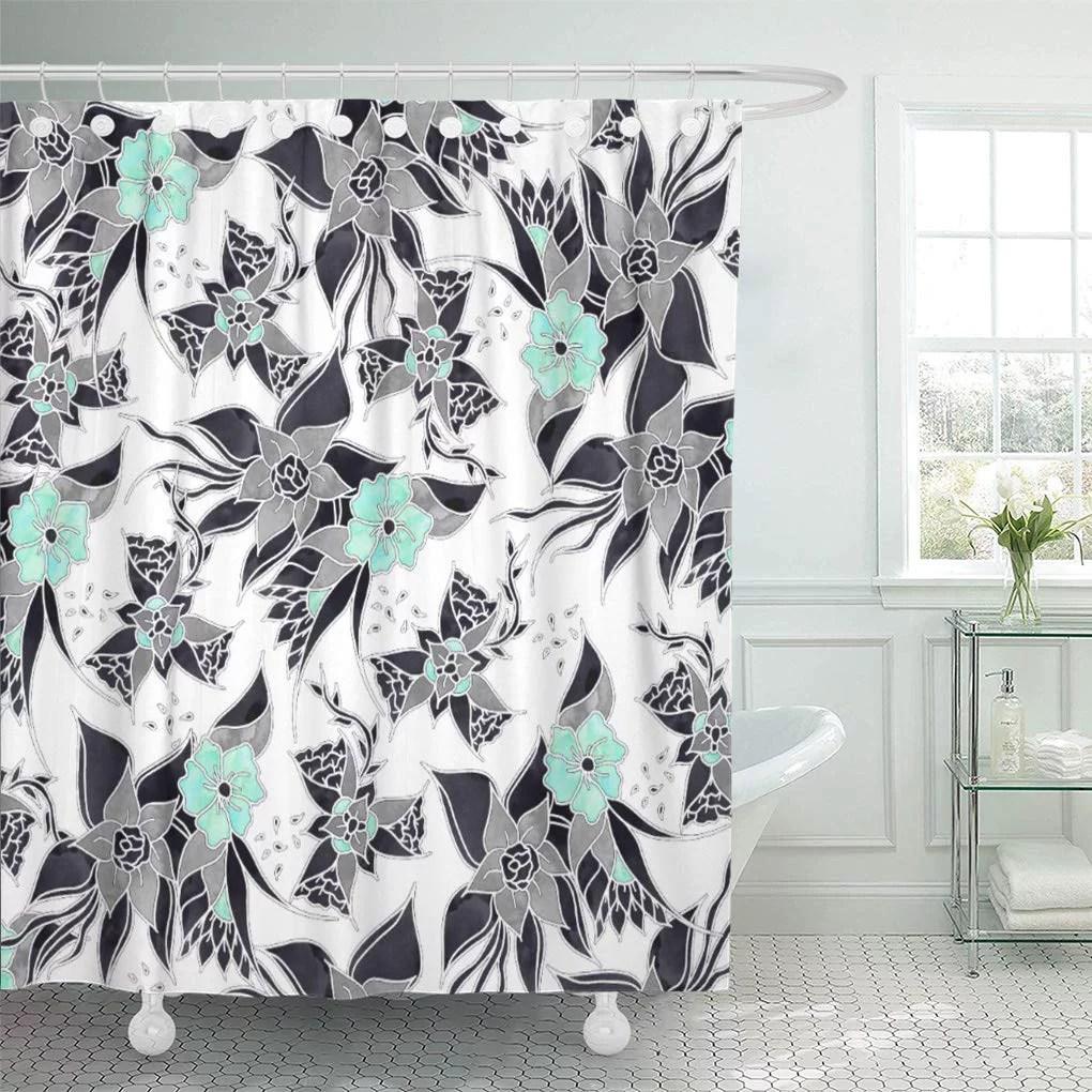 suttom modern spring grey mint green watercolor floral pattern flowers shower curtain 60x72 inch walmart com