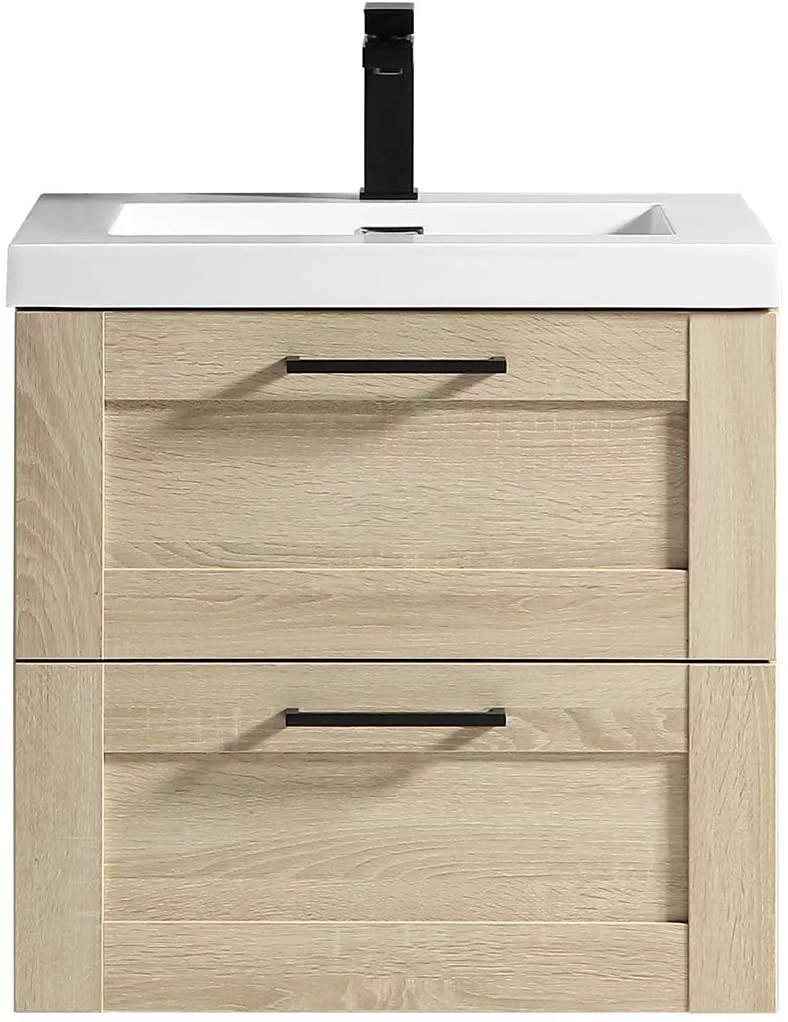cosmo ace 24 inch bathroom vanity ace wall mounted cabinet with integrated sink and 2 large metal drawers and white countertop assembled storage