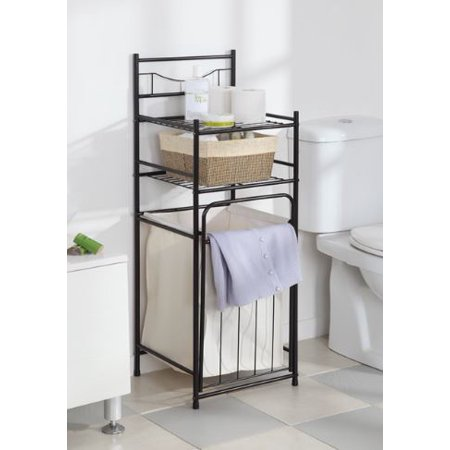 mainstays 2 shelf bathroom storage tower with hamper oil rubbed bronze