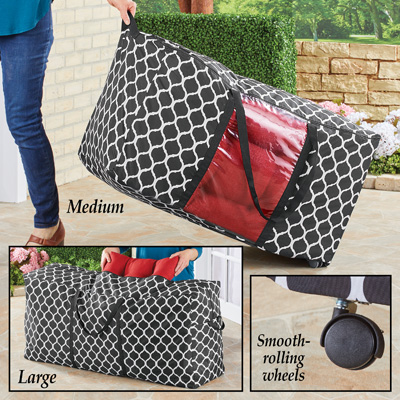 patio cushion storage bag zippered rolling tote with handles medium