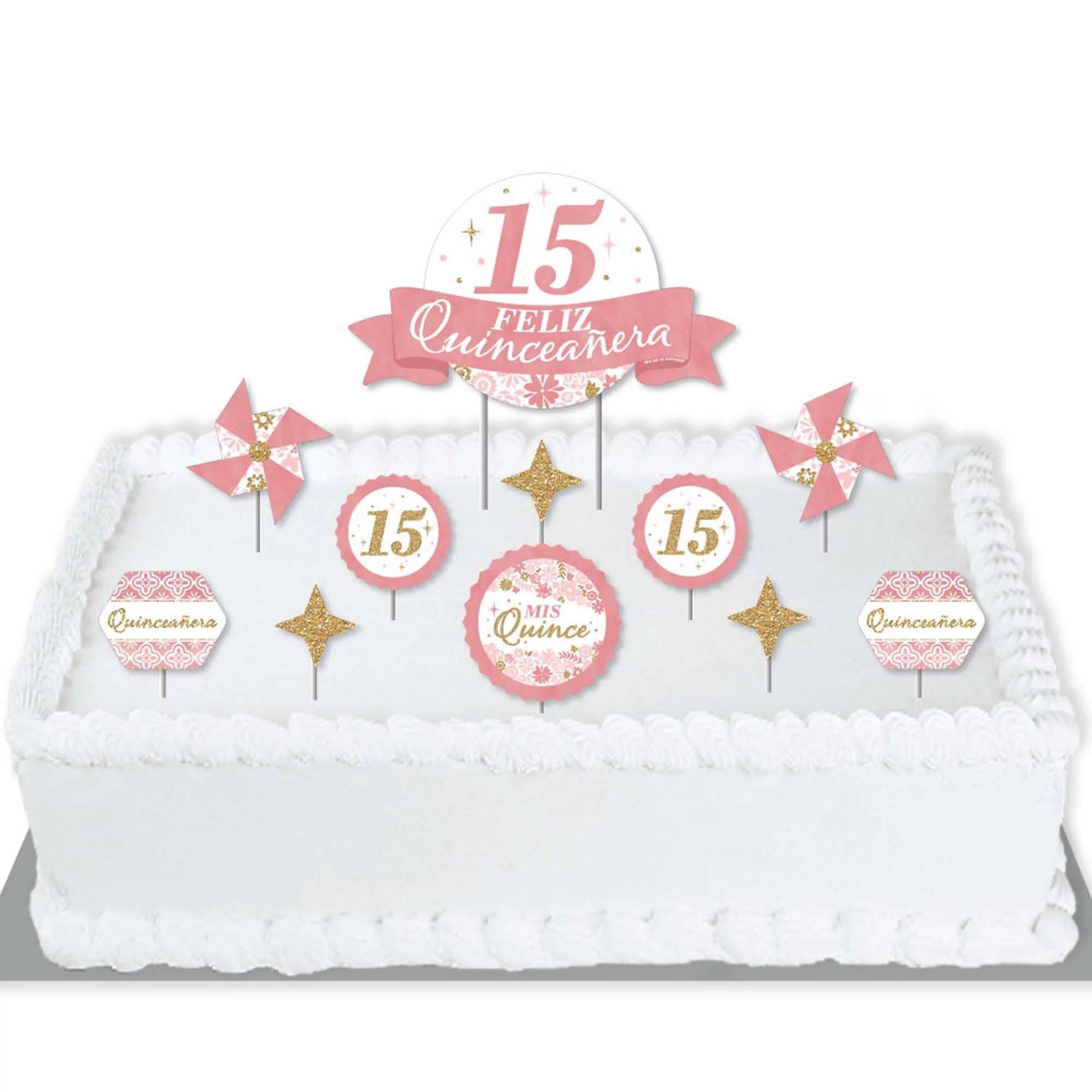 Mis Quince Anos Quinceanera Sweet 15 Birthday Party Cake Decorating Kit Feliz Quinceanera Cake Topper Set 11 Pieces Walmart Com Walmart Com