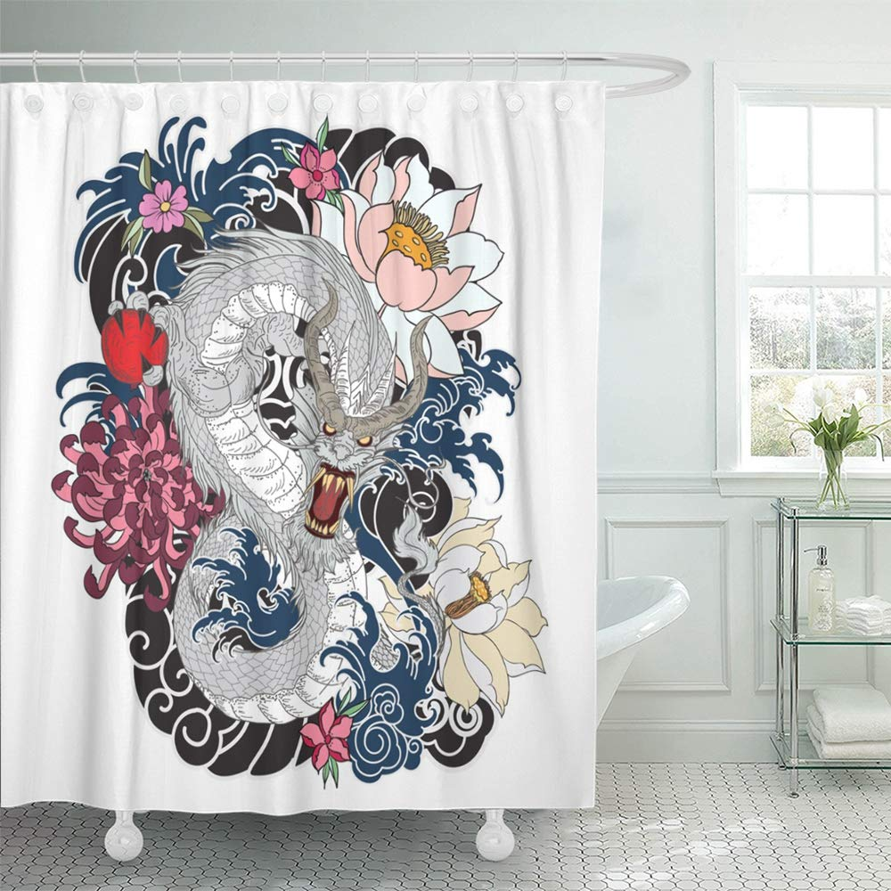 pknmt red black dragon tattoo design coloring book japanese style japan peony abstract waterproof bathroom shower curtains set 66x72 inch