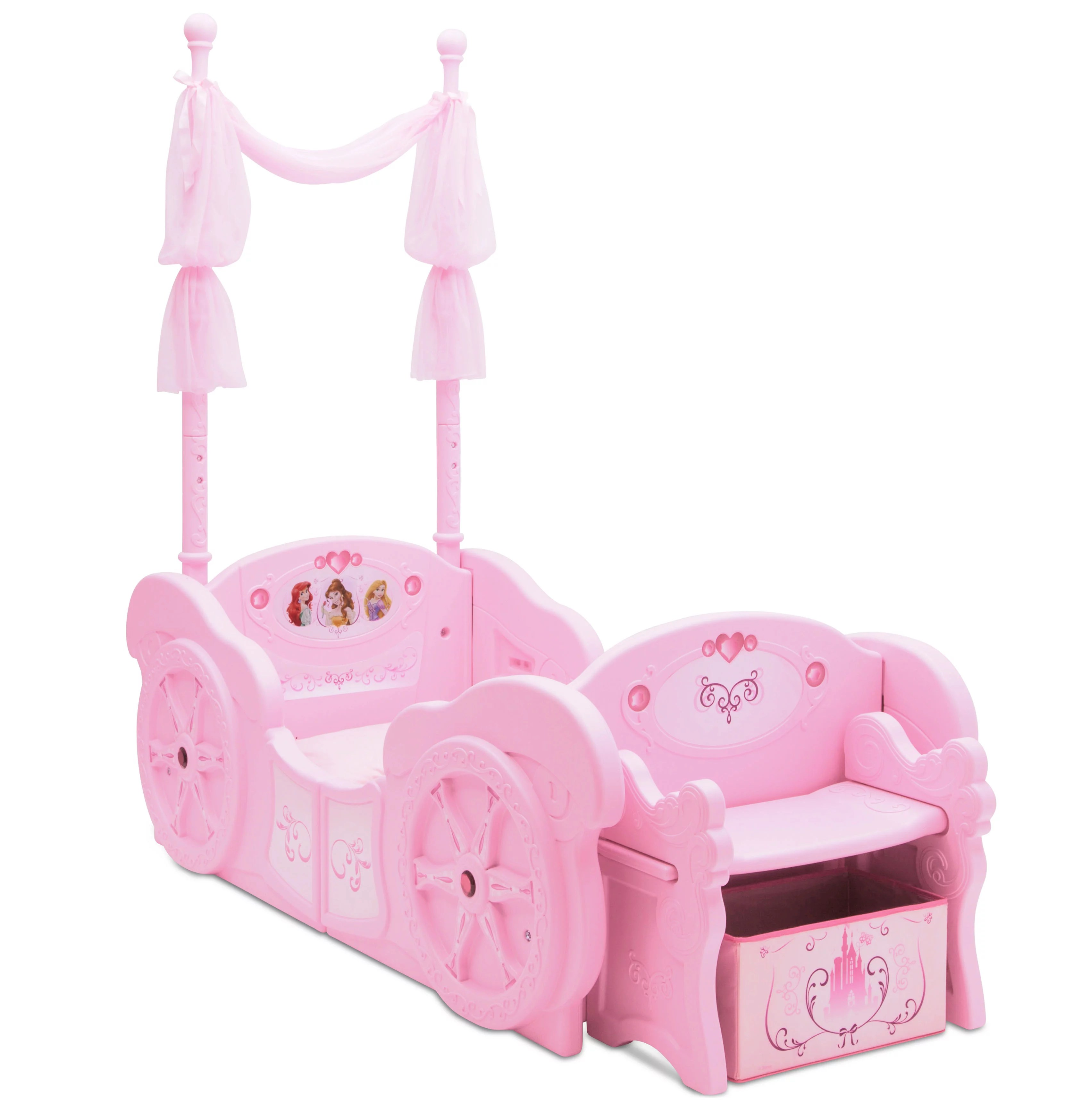 delta children disney princess plastic carriage toddler to twin bed walmart com