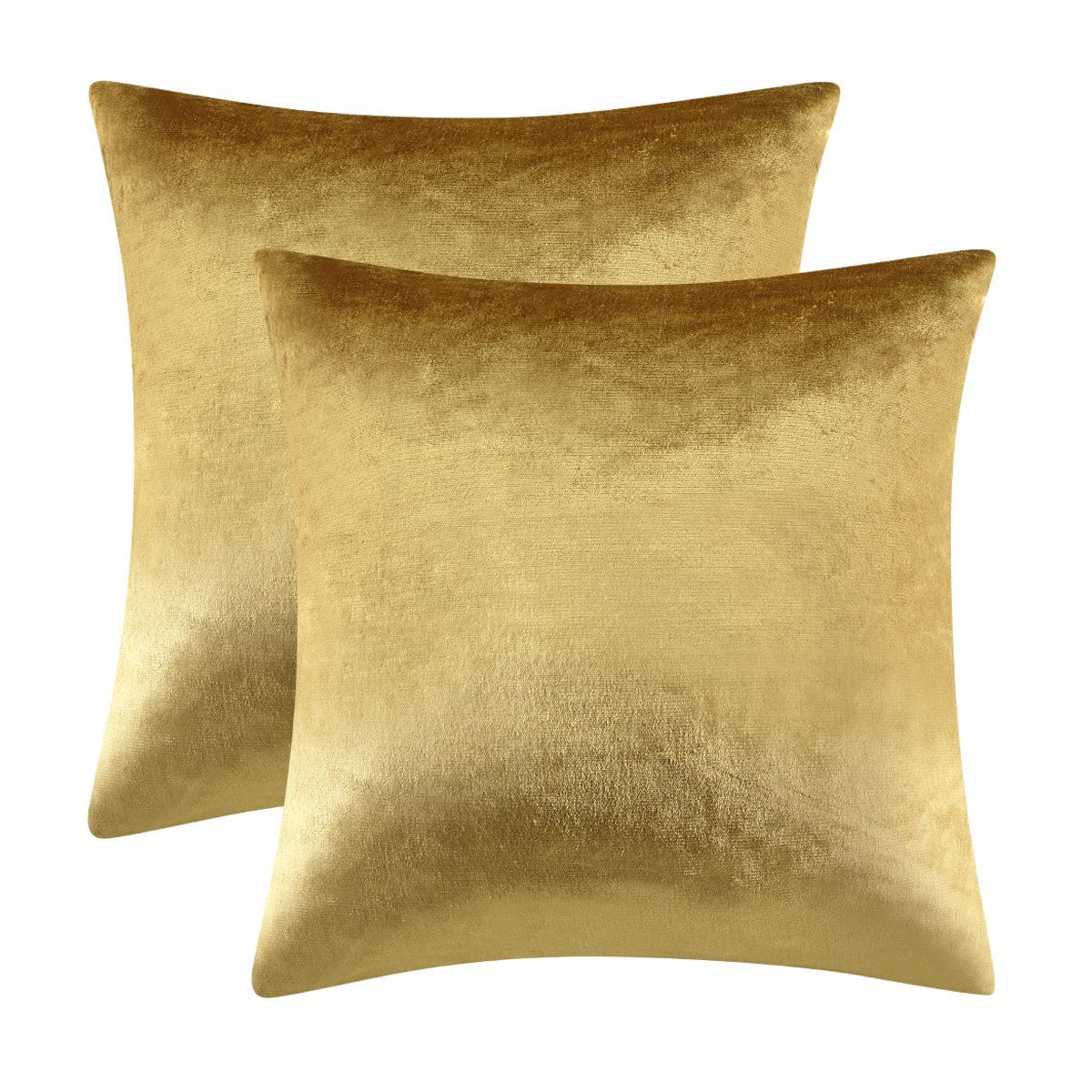 gigizaza gold velvet decorative throw pillow covers 18x18 pillow covers for couch sofa bed 2 pack soft cushion covers 18 x 18 set of 2 walmart com