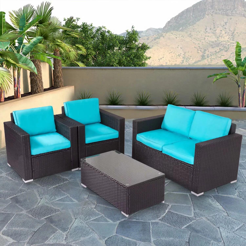 kinbor 4pcs outdoor patio furniture pe rattan wicker rattan sofa sectional set with blue cushions walmart com