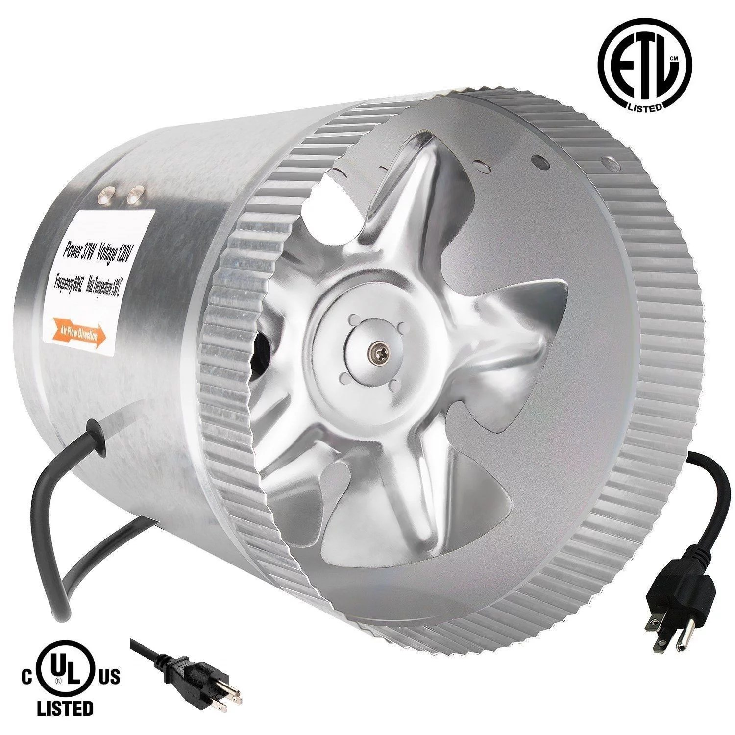 ipower 6 inch 240 cfm booster fan inline duct vent blower for hvac exhaust and intake 5 5 grounded power cord