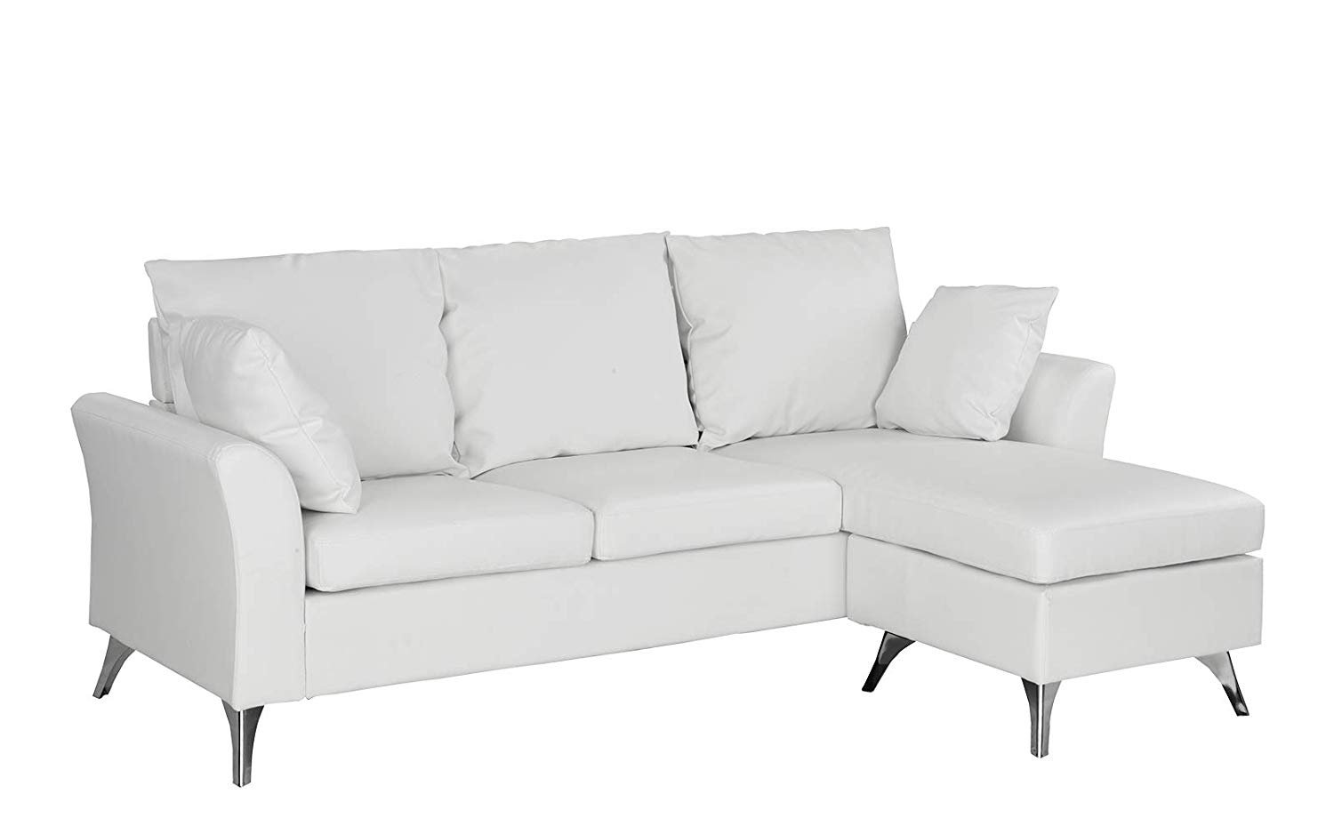 modern pu leather sectional sofa small space configurable couch white