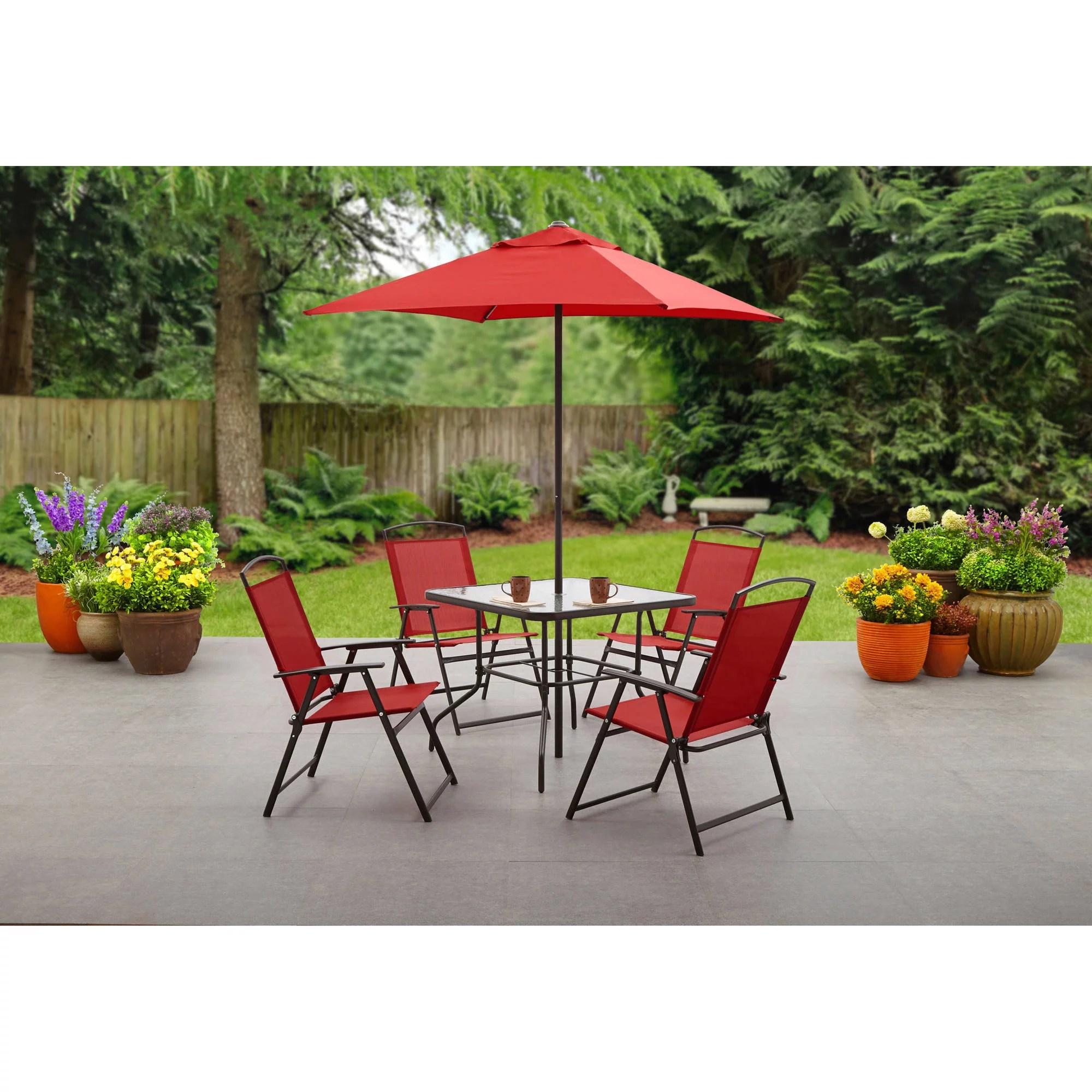 mainstays albany lane 6 piece outdoor patio dining set red walmart com