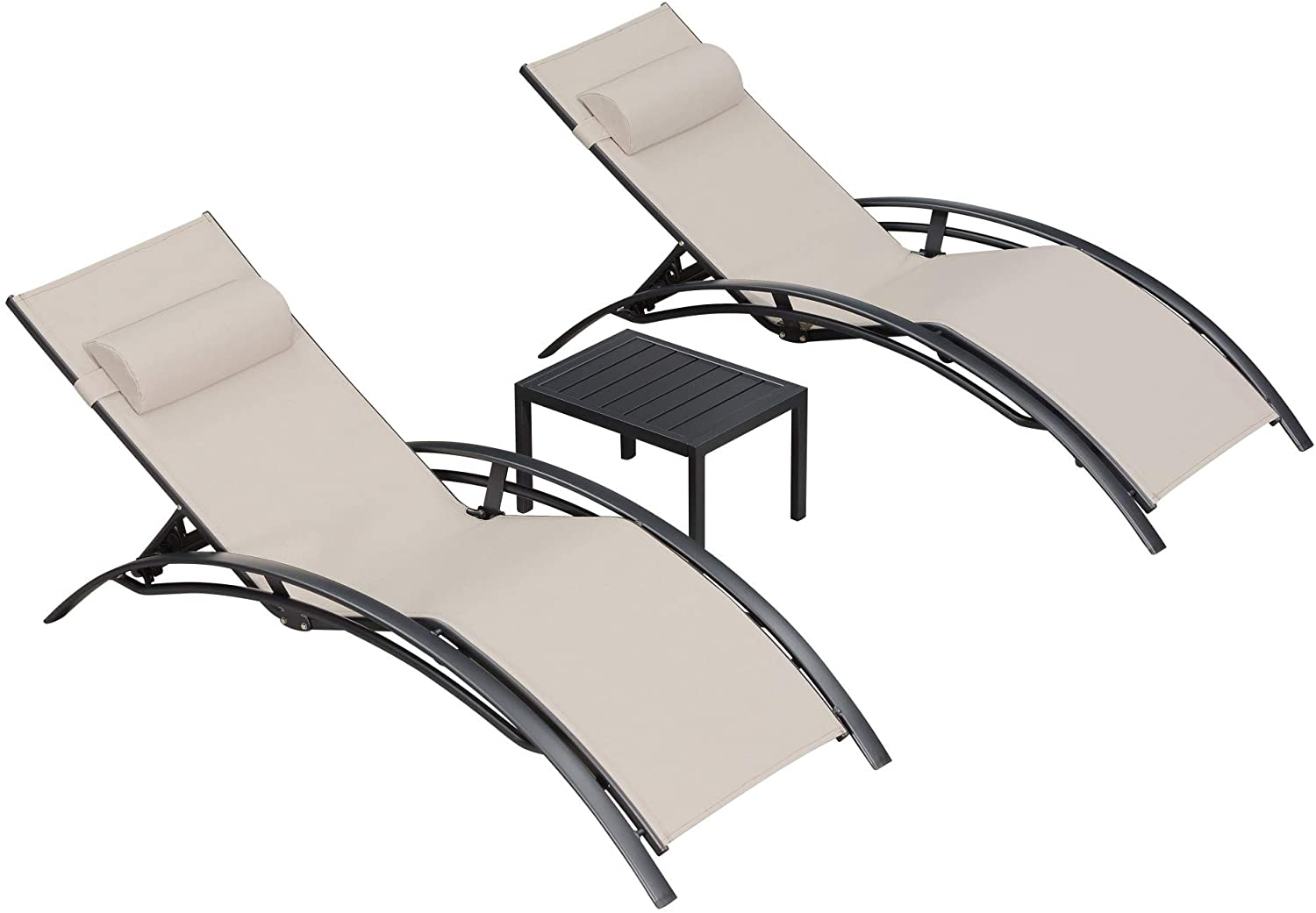 purple leaf patio chaise lounge sets 3 pieces outdoor lounge chair sunbathing chair with headrest and table for all weather beige walmart com