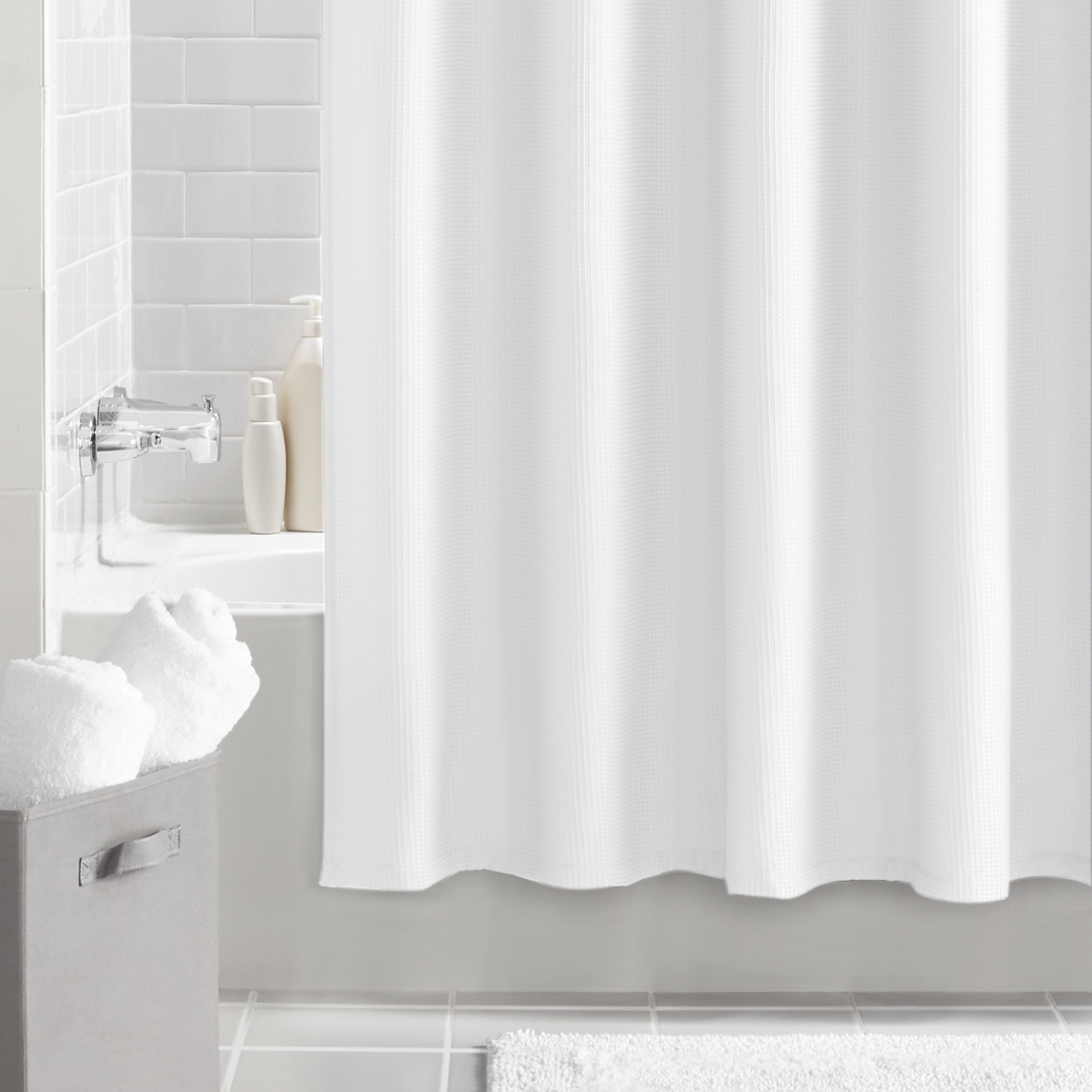 mainstays waffle textured fabric shower curtain solid white 70 x 72
