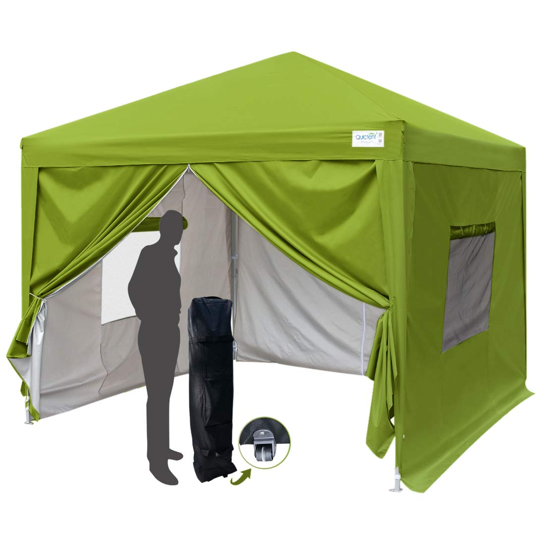 quictent privacy 10x10 ez pop up canopy tent party tent gazebo with mesh windows and sidewalls 100 waterproof 7 colors green