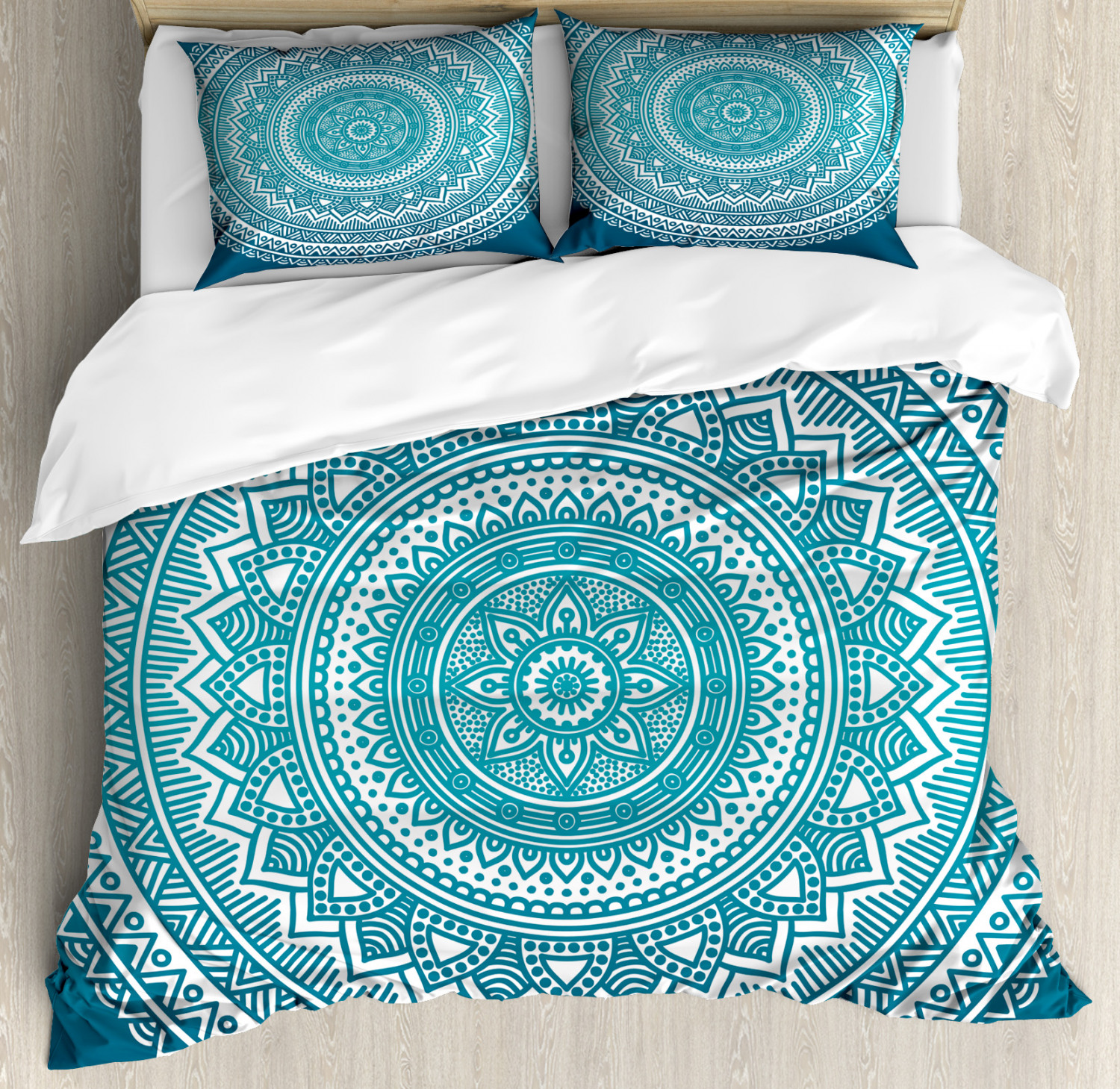 turquoise ombre duvet cover set mandala medallion starry design with flower in middle ethnic ethnic art decorative bedding set with pillow shams