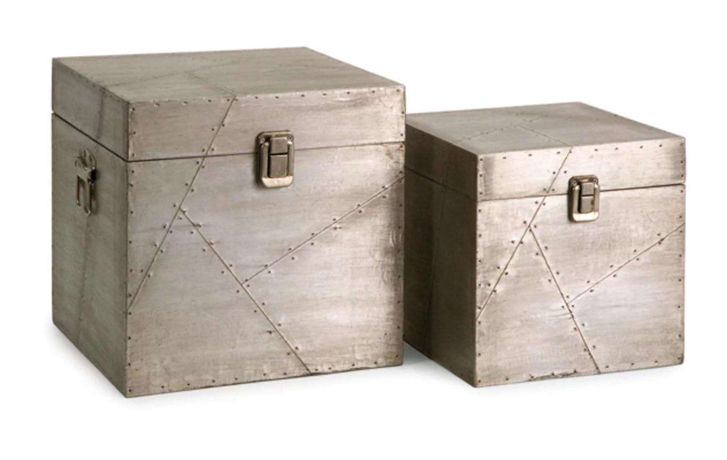 Set Of 2 Sleek Industrial Style Aluminum Storage Trunk Boxes 10 Walmart Com Walmart Com