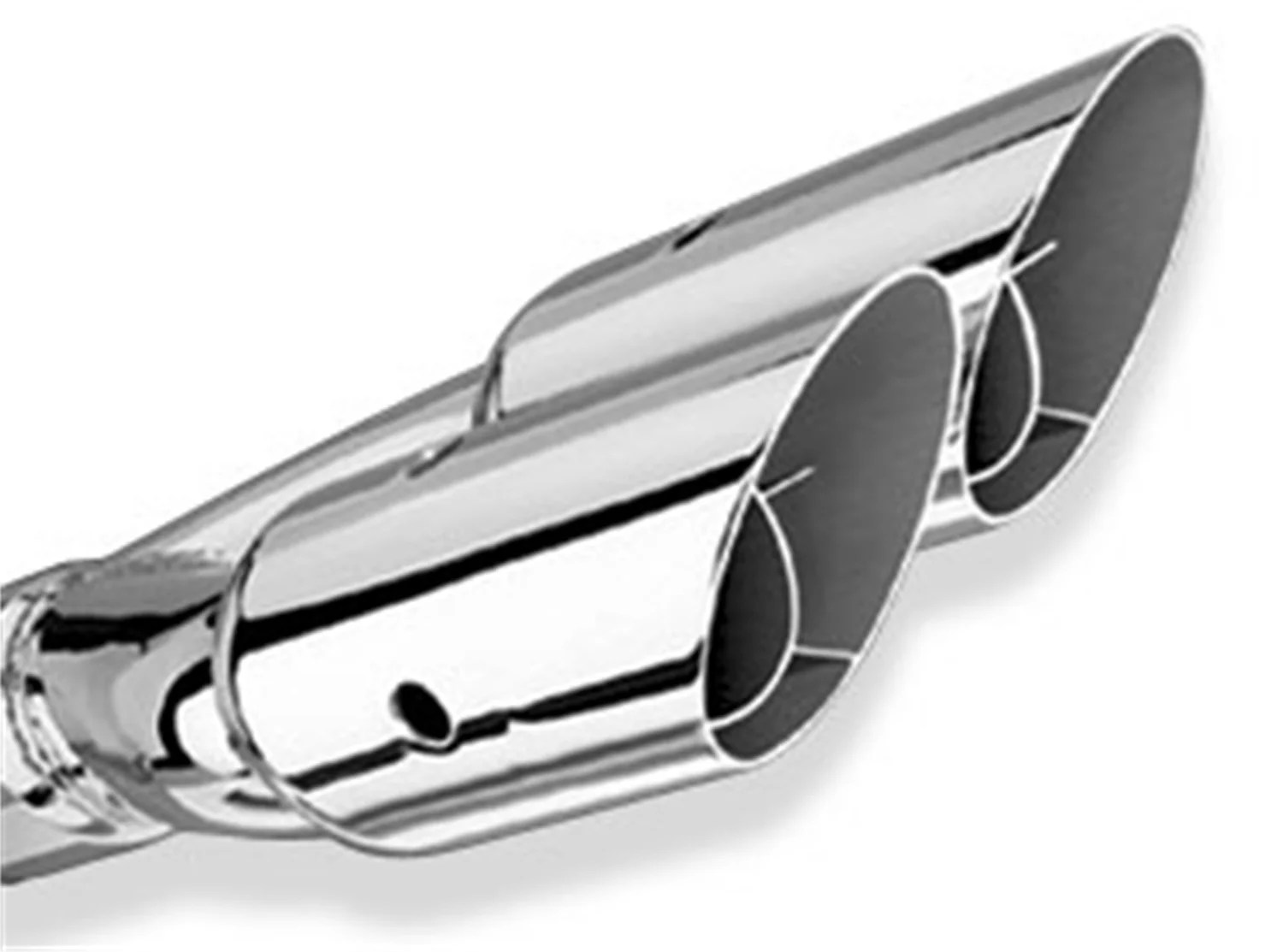borla 20213 exhaust tip 2 5 in inlet 3 in outlet 14 in length set screw included dual round angle cut intercooled w y pipe polished stainless