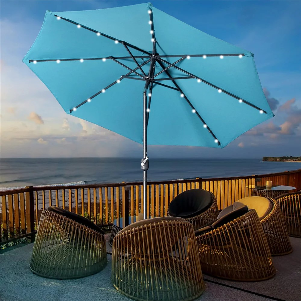 9 ft led lighted patio outdoor umbrella solar power market table fade resistant umbrella with push button tilt crank and 8 sturdy ribs lake blue