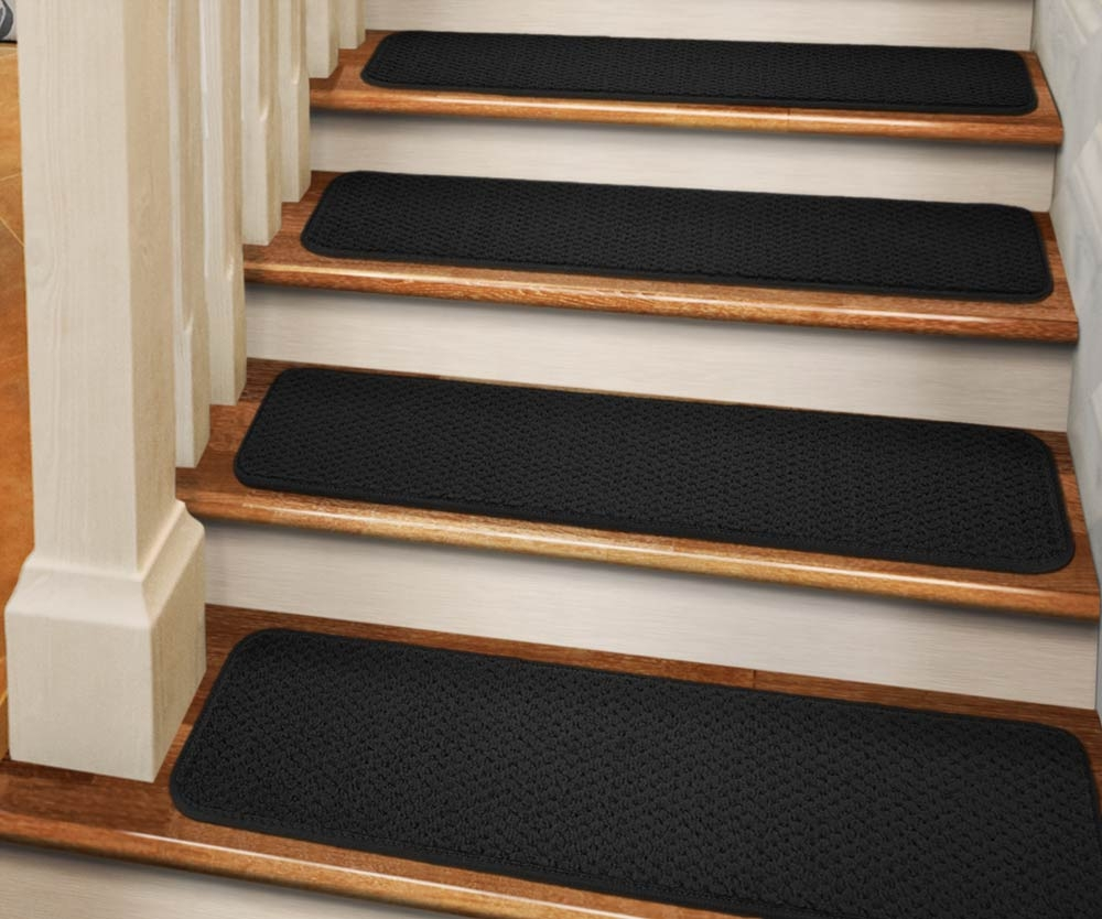 Set Of 15 Adhesive Carpet Stair Treads Black 9 In X 36 In   Walmart Outdoor Stair Treads   Rubber Stair   Rubber Backed   Walmart Com   Step Mats   Anti Slip