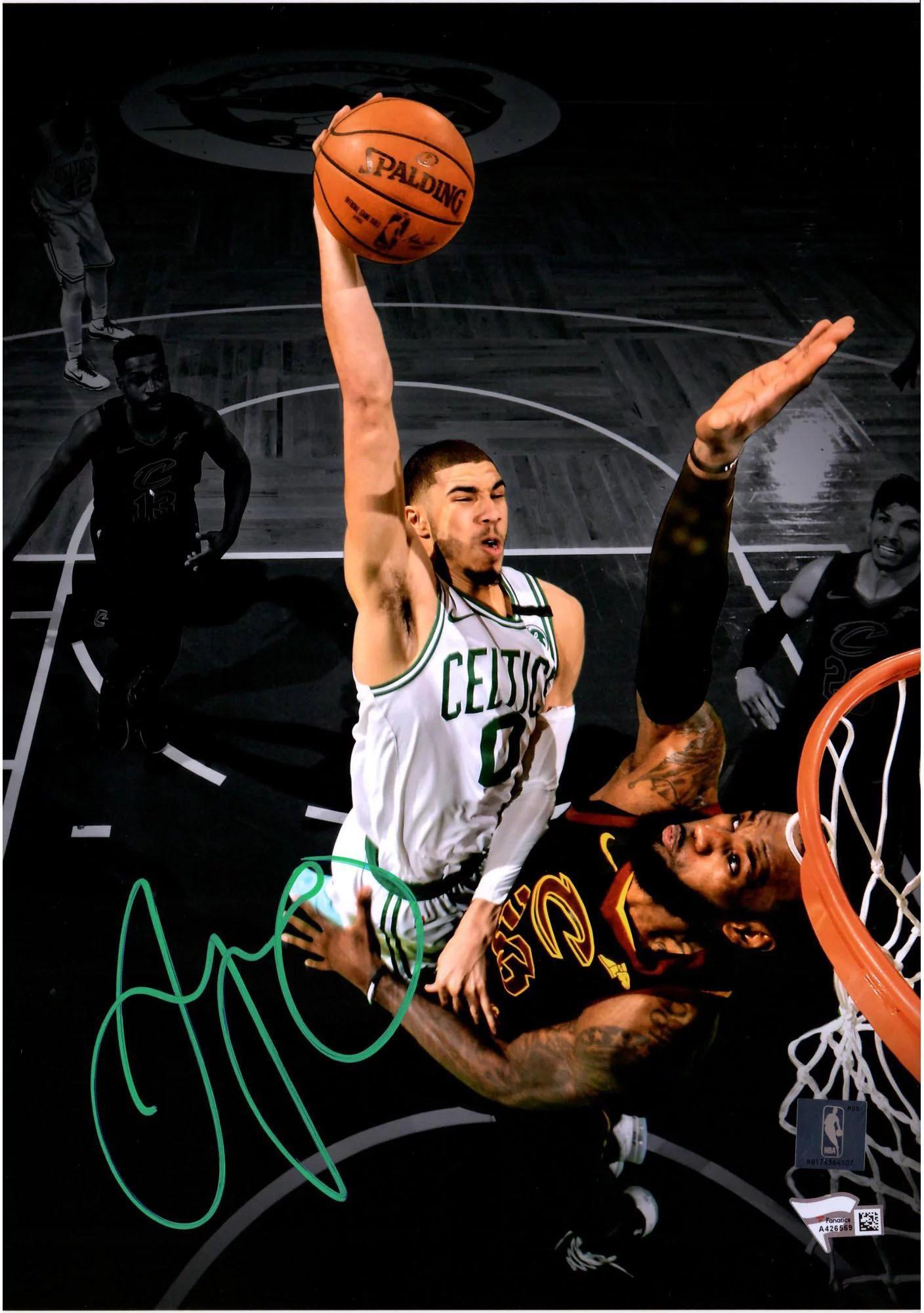 https www walmart com ip jayson tatum boston celtics autographed 10 x 14 dunking on lebron james vertical spotlight photograph fanatics authentic certified 944142790