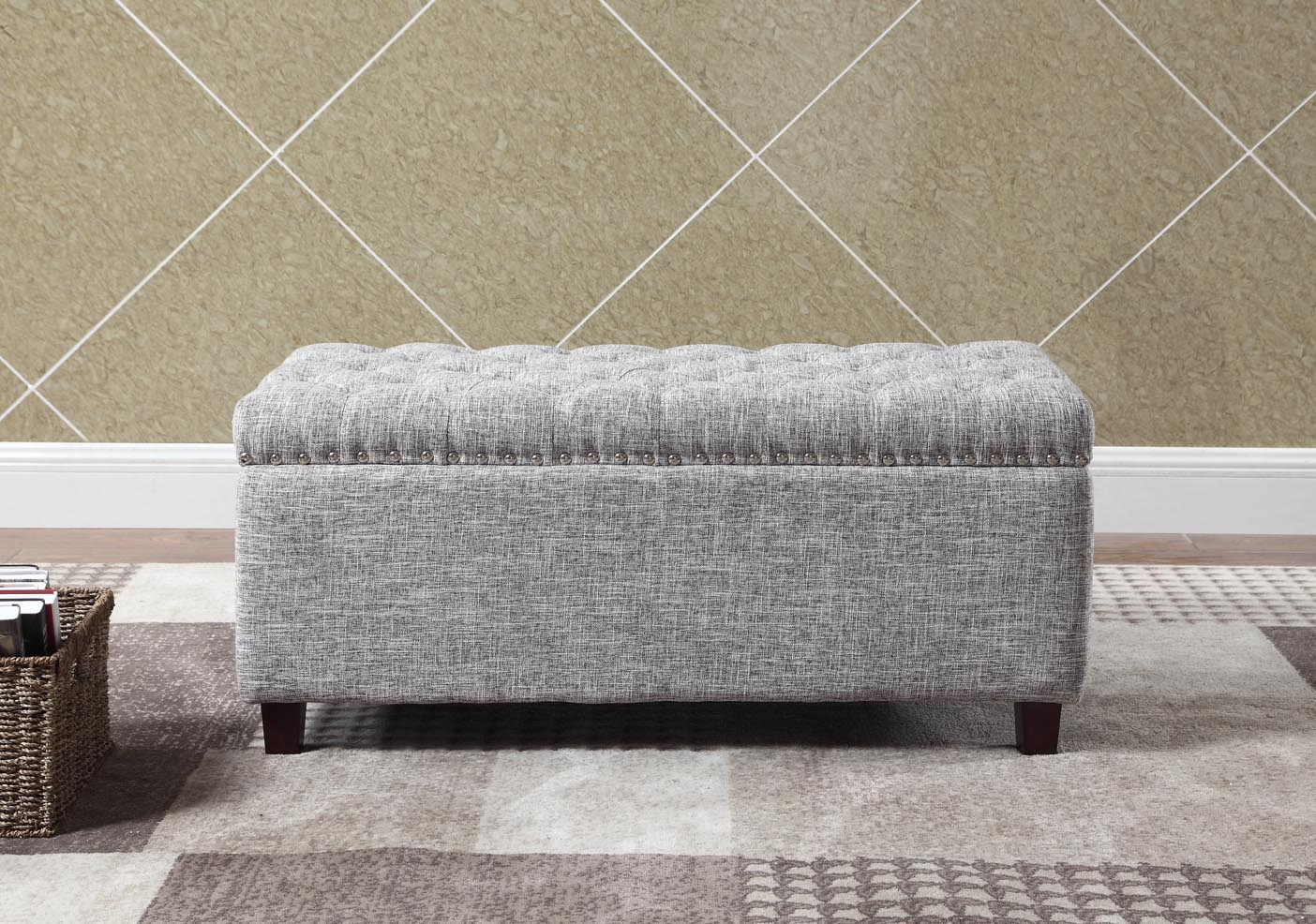 button tufted storage ottoman with nailhead gray white color