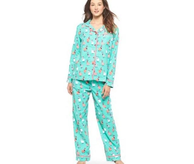 Nite Nite Munki Munki Women Cotton Pajama Set Hipster Llama Drama Green Coral M