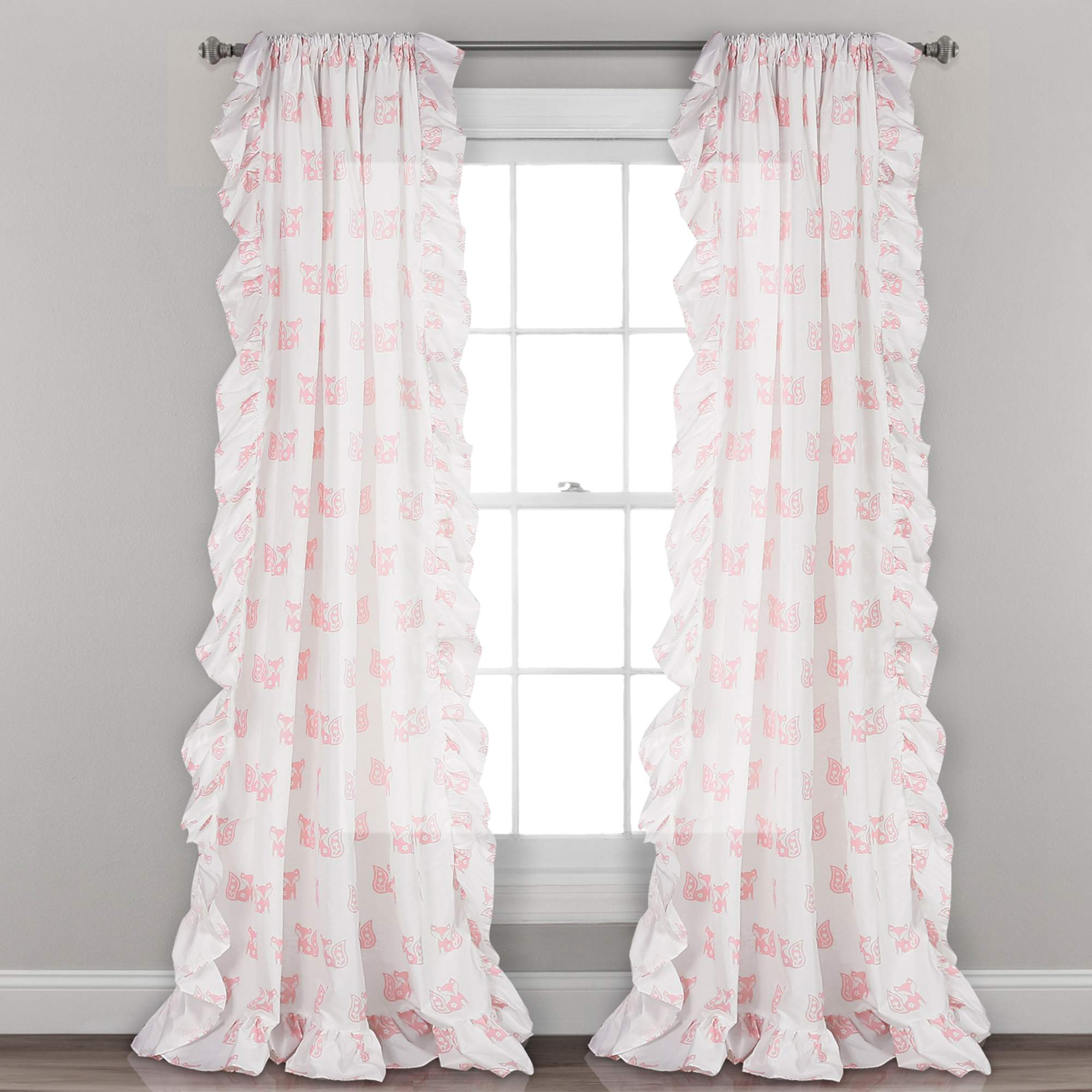 ruffle fox window curtain panels in pink 84 inches in l set of 2 walmart com