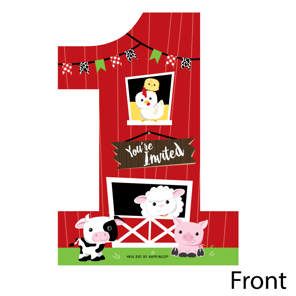 1st birthday farm animals shaped fill in invitations barnyard first birthday party invitation cards with envelopes