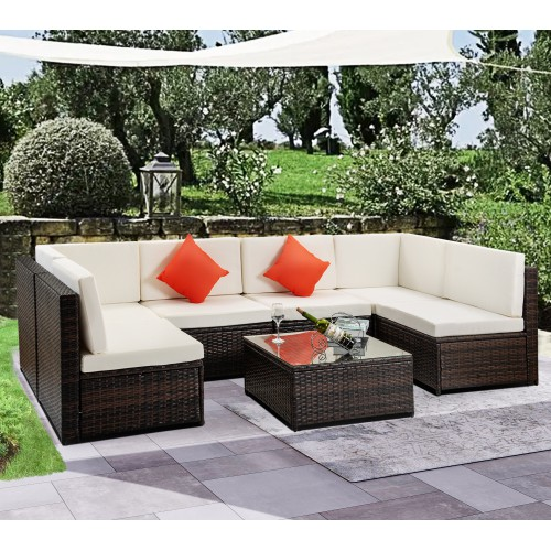 wicker patio sets on clearance for outdoor furniture 2019 upgrade 7 piece conversation furniture set w 2 corner sofa tempered glass table 4 single