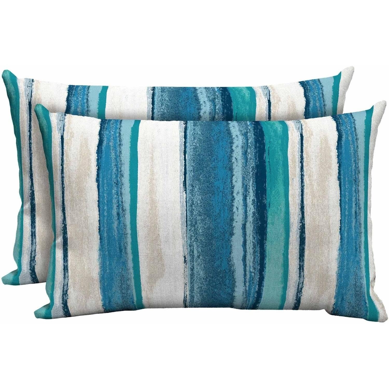 mainstays outdoor patio lumbar toss pillow set of 2 multiple patterns