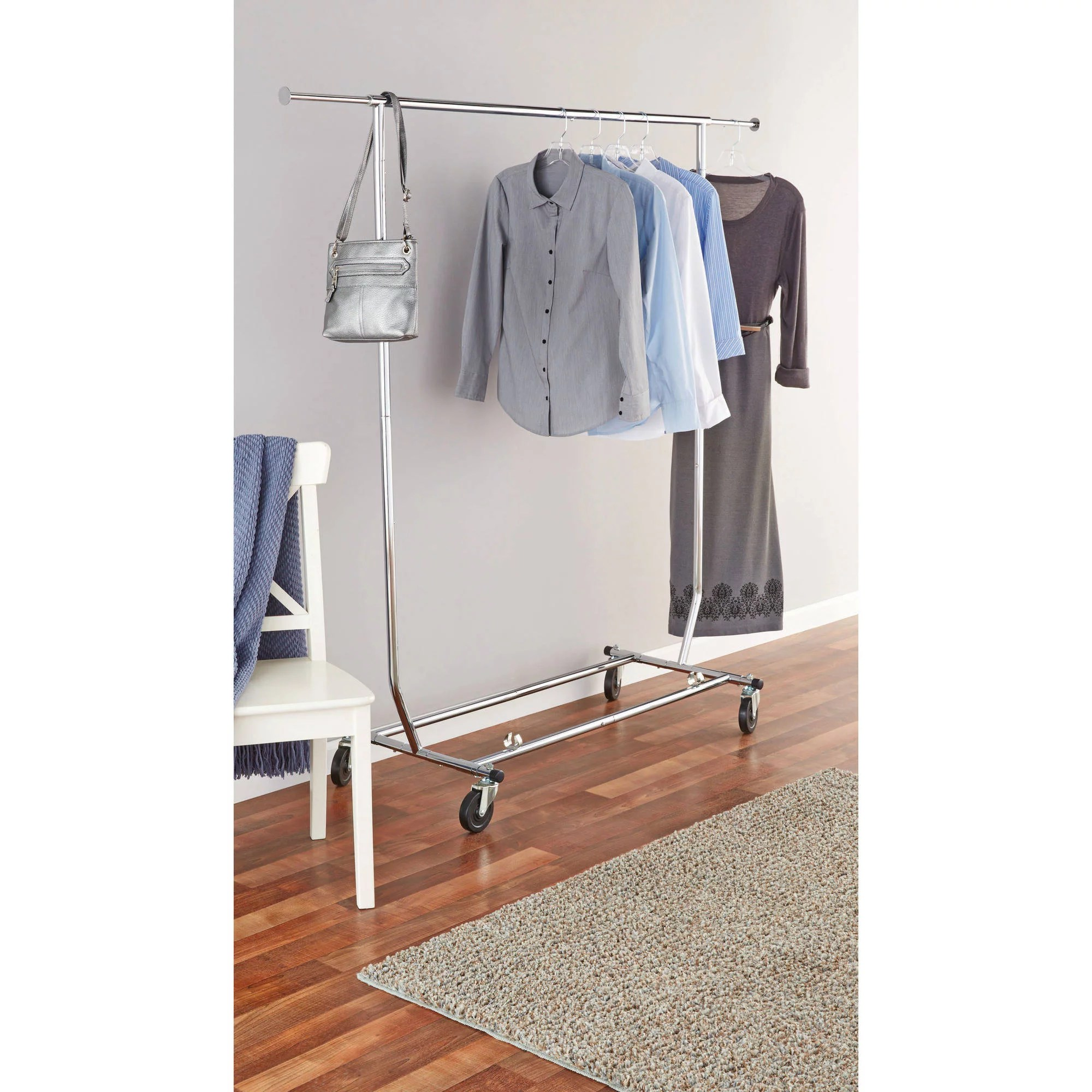 mainstays deluxe garment rack with wheels chrome