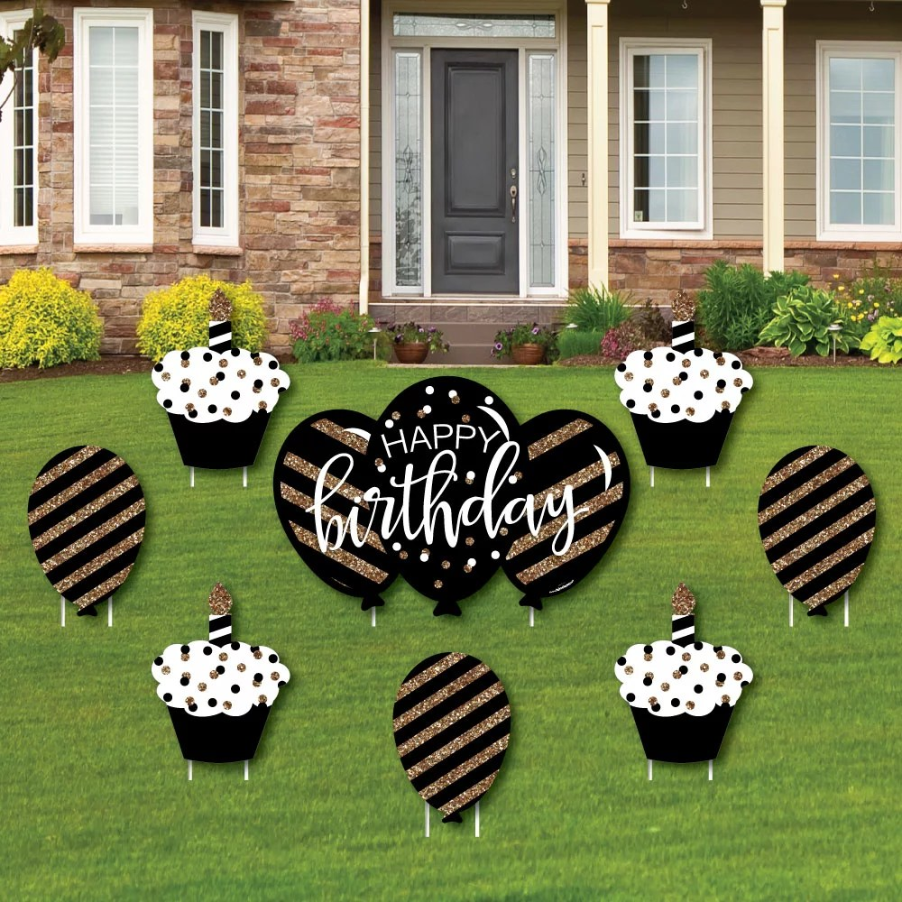 Adult Happy Birthday Gold Cupcake And Balloon Yard Sign And Outdoor Lawn Decorations Birthday Yard Signs Set Of 8 Walmart Com Walmart Com
