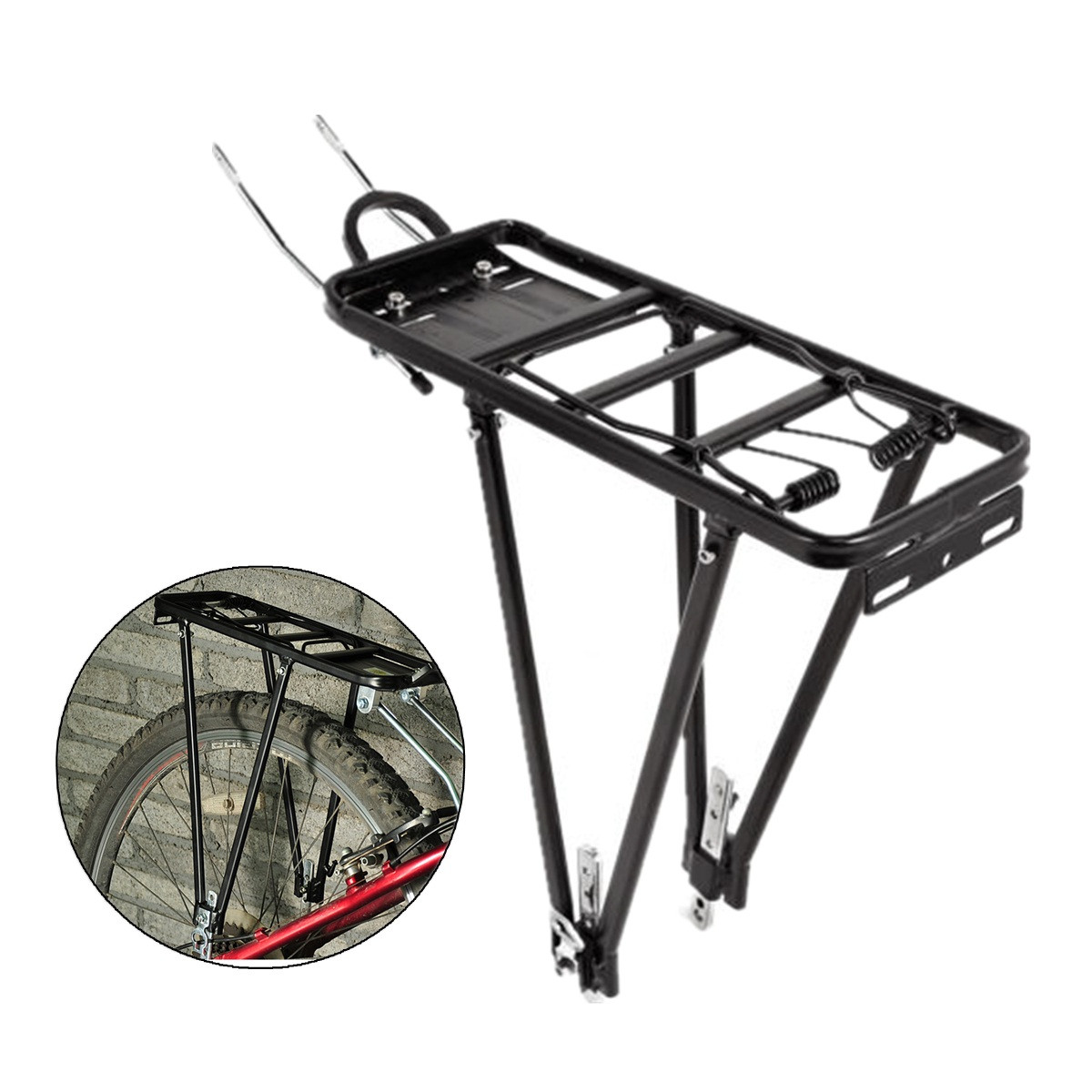 bicycle rear rack bike cargo luggage carrier rack heavy duty bicycle back holder fits size 24 28 wheels 143lbs load capacity walmart com