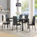 7 Piece Kitchen Dining Table And Chair Set Dining Room Table Set With Glass Tabletop Faux Leather Padded Chairs Square Dining Table Set For 6 Dinette Set For Kitchen Dining Room Small
