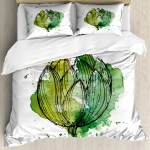 Artichoke Duvet Cover Set Abstract Style Cardunculus Drawn By Hand Harvest Vivid Color Decorative Bedding Set With Pillow Shams Hunter Green And Lime Green By Ambesonne Walmart Com Walmart Com