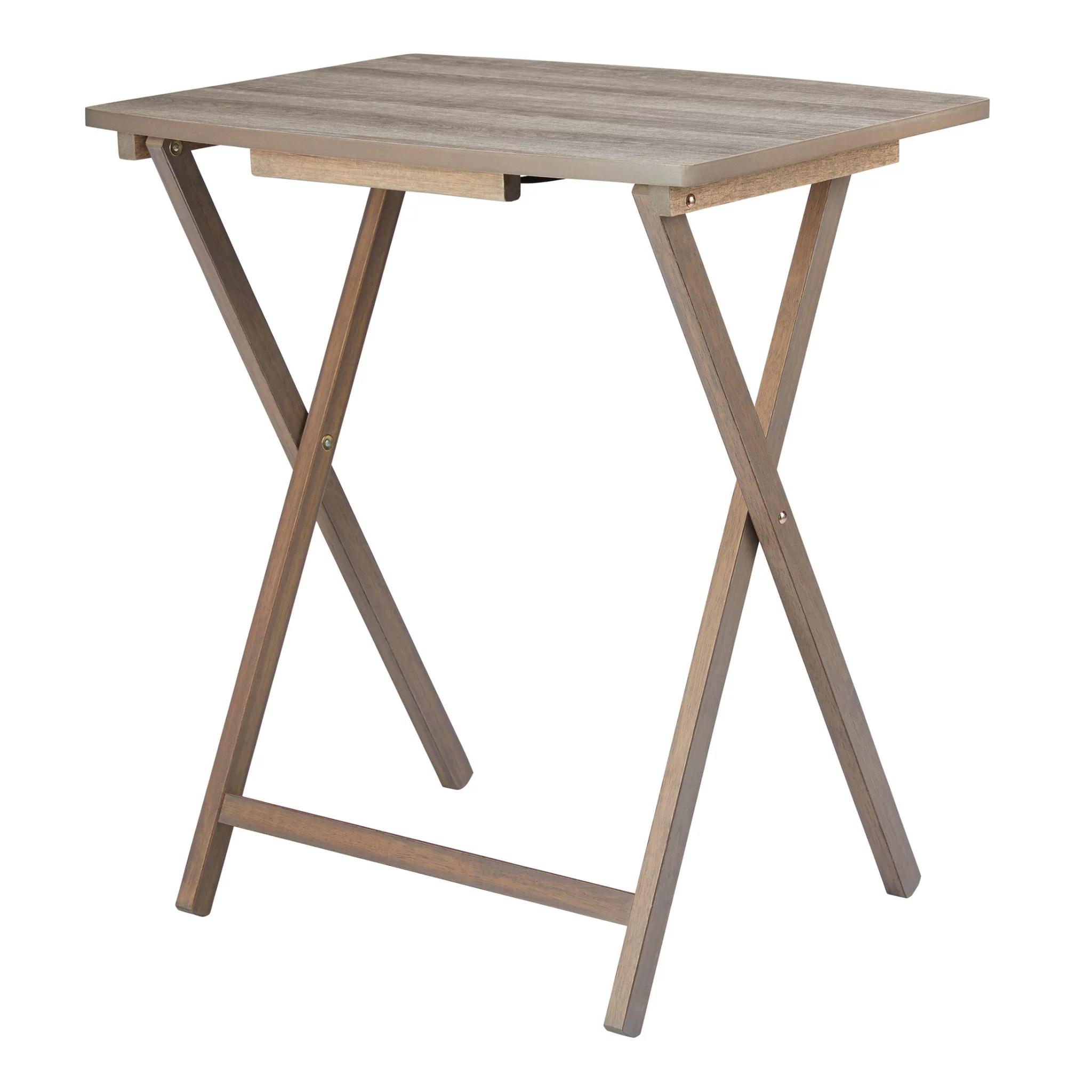 mainstays folding xl oversized tray table rustic gray walmart com
