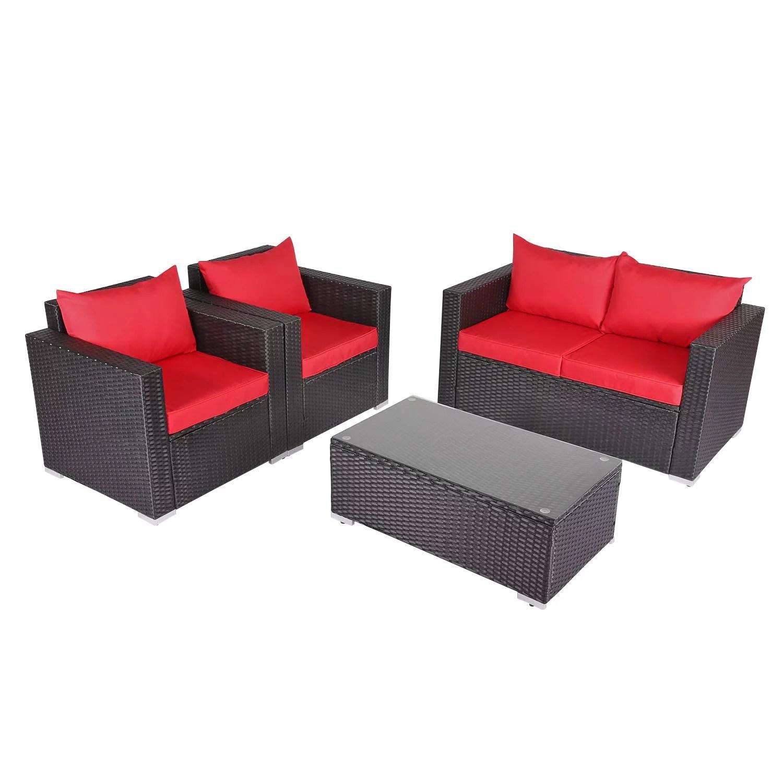 kinbor 4pcs outdoor patio furniture pe wicker rattan sofa sectional set red walmart com
